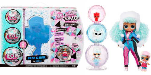 LOL Surprise Winter Chill OMG BUNDLE Icy Gurl & Brrr B.B. Exclusive Fashion Doll [Includes Lil, Fluffy Pet & Glitter Globe!]