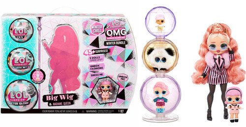 LOL Surprise Winter Chill OMG BUNDLE Big Wig & Madame Queen Exclusive Fashion Doll [Includes Lil, Fluffy Pet & Glitter Globe!]