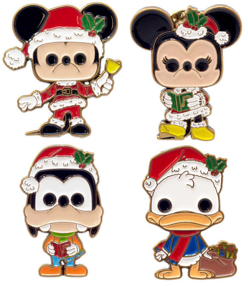 Funko Disney Holiday 2020 Mickey, Minnie, Donald & Goofy Exclusive 1.5-Inch Pin 4-Pack [Holiday Collector Box]