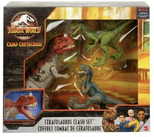 Jurassic World Camp Cretaceous Ceratosaurus Clash Set Action Figure 3-Pack [Ceratosaurus & 2x Velociraptors]