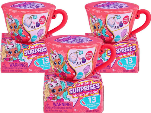 Itty Bitty Prettys Series 1 Tea Party Surprise LOT of 3 Mystery Mini Teacup Packs