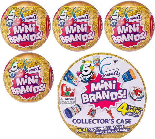 5 Surprise Mini Brands! Series 2 COMBO Set [4x Mystery Packs & Collector Case!]