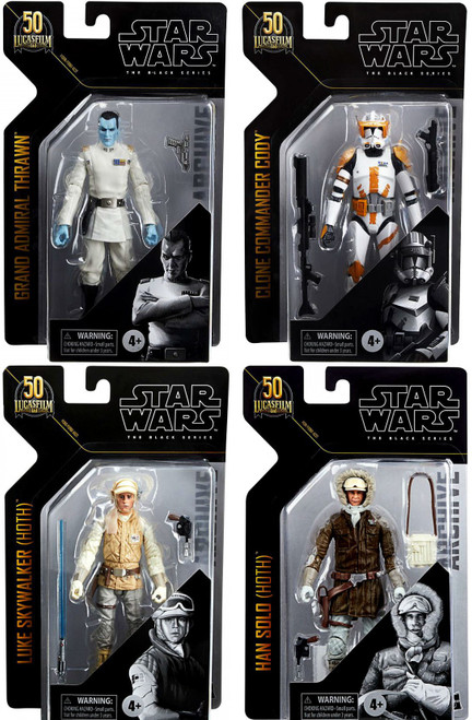 Star Wars Black Series Archive Wave 1 Grand Admiral Thrawn, Luke Skywalker, Han Solo & Commander Cody Set of 4 Action Figures (Pre-Order ships January)