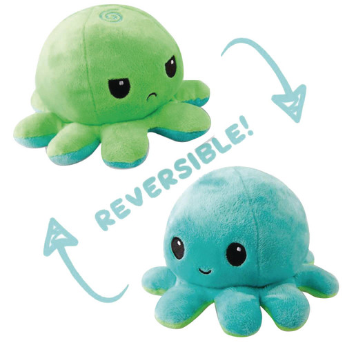 Octopus 6.5-Inch Mini Reversable Plush [Green to Light Blue]
