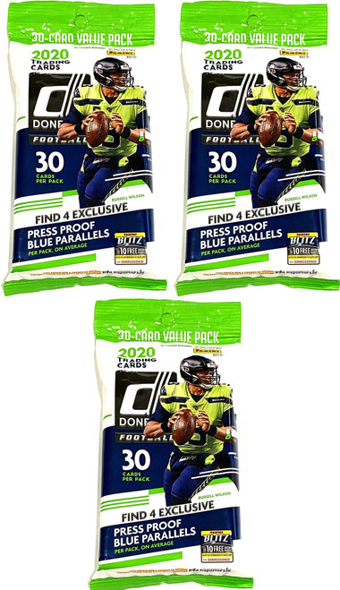 NFL Panini 2020 Donruss Football LOT of 3 Trading Card VALUE Packs [30 Cards Per Pack]