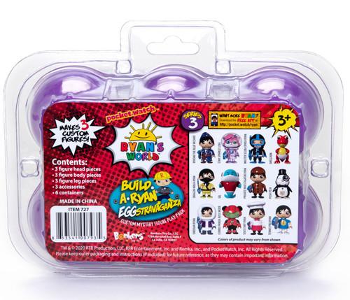 Pocket Watch Ryan's World Series 3 Build a Ryan Eggstravaganza Custom Mystery Figure Play 6-Pack Set [Purple Eggs]