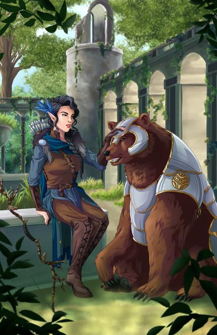ToyWiz Dungeons & Dragons Half-Elf Ranger and Bear Art Print [ToyWiz Exclusive by Sarah Madura]