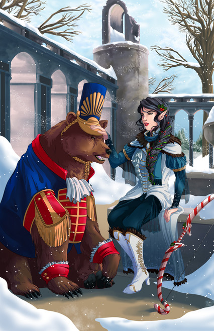 ToyWiz Dungeons & Dragons Half-Elf Ranger and Bear Holiday Variant Art Print [ToyWiz Exclusive by Sarah Madura]
