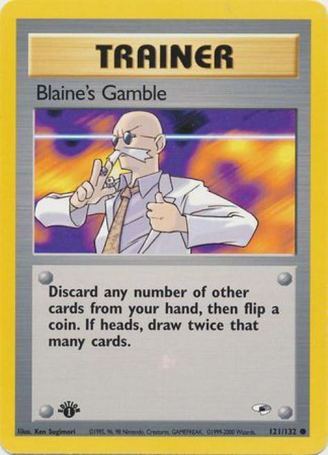 Pokemon Gym Heroes Common Blaine's Gamble #121 [1st Edition]