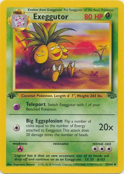 Pokemon Jungle Uncommon Exeggutor #35 [1st Edition]