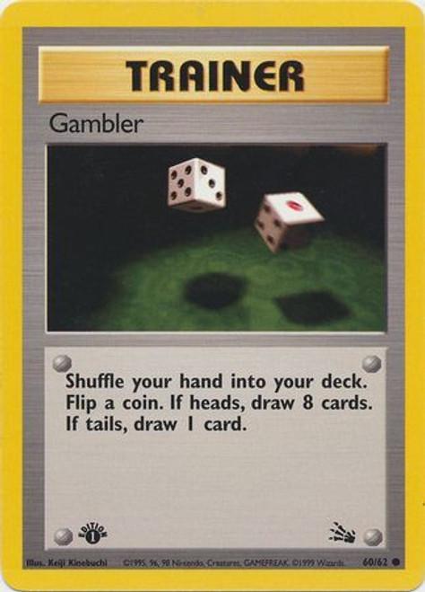Pokemon Fossil Common Gambler #60 [1st Edition]