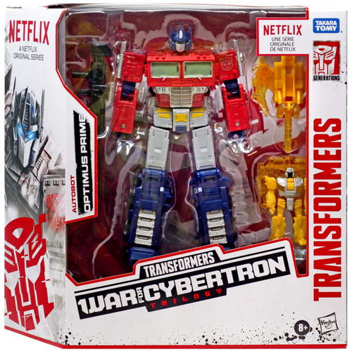 Transformers Generations War for Cybertron: Trilogy Optimus Prime Exclusive Voyager Action Figure Battle 3-Pack [with Enerax & Sheeldron, Netflix Series-Inspired]