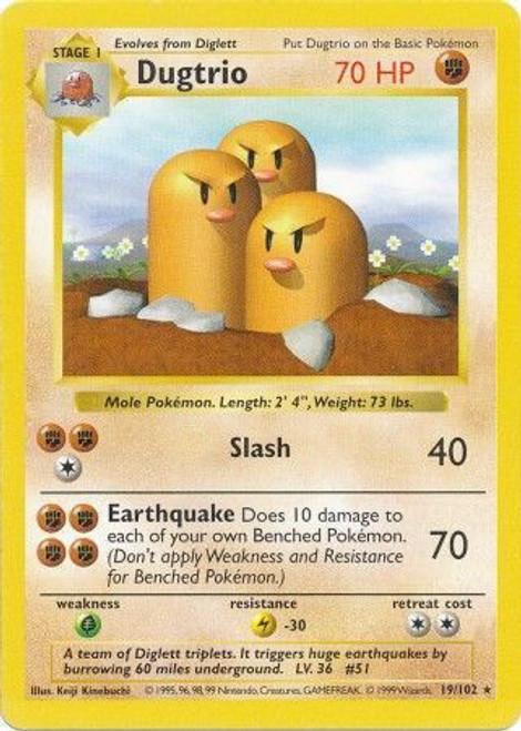 Pokemon Base Set Rare Dugtrio #19 [Shadowless]