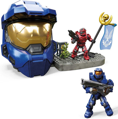 Halo Blue Spartan Helmet Capture the Flag Set [Spartan Mark VI & Spartan Trailblazer Micro Figures!]
