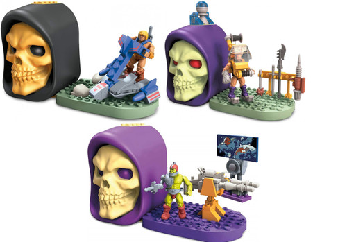 Mega Construx Masters of the Universe Skeletor Skull He-Man Jet Sled, Trap Jaw Laser Cannon & Fisto Cliff Climber Set of 3