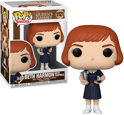 Funko The Queen's Gambit POP! Games Beth Harmon Vinyl Figure [Dark Dress, with Trophies] (Pre-Order ships April)