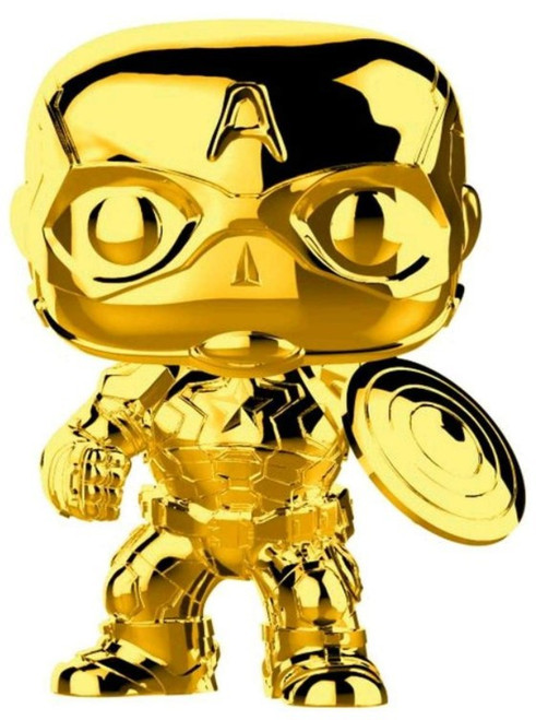 Funko Marvel Studios 10 POP! Marvel Captain America Vinyl Bobble Head #377 [Gold Chrome, Loose]