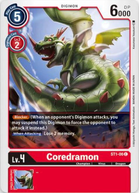 Digimon Trading Card Game Starter Deck Gaia Red Common Coredramon ST1-06