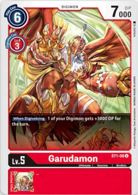 Digimon Card Game Starter Deck Gaia Red Uncommon Garudamon ST1-08