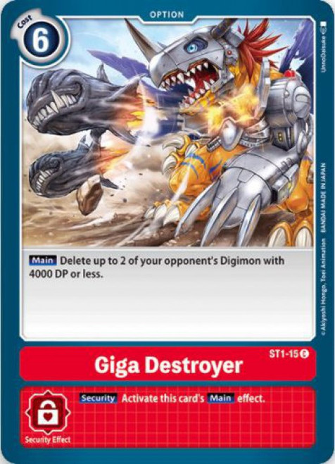 Digimon Card Game Starter Deck Gaia Red Common Giga Destroyer ST1-15