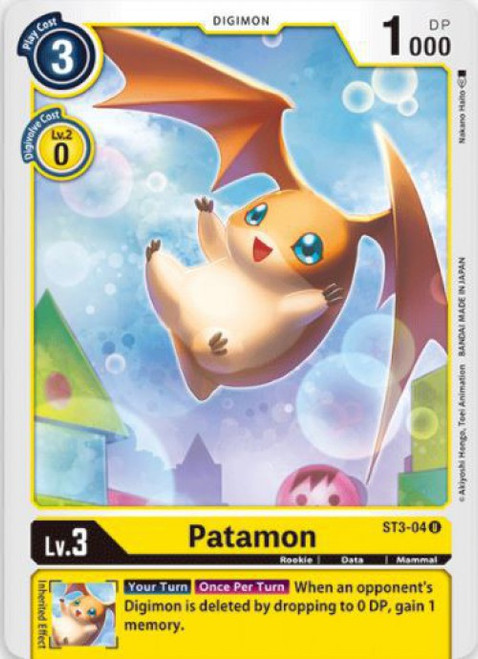 Digimon Trading Card Game Starter Deck Heaven's Yellow Uncommon Patamon ST3-04
