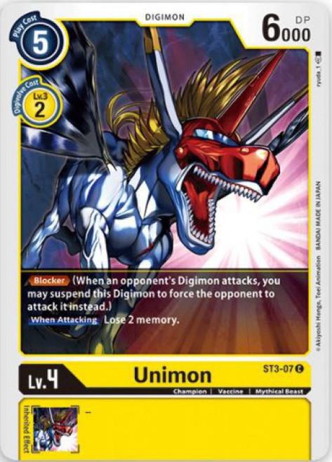 Digimon Trading Card Game Starter Deck Heaven's Yellow Common Unimon ST3-07
