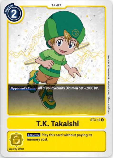 Digimon Card Game Starter Deck Heaven's Yellow Rare T.K. Takaishi ST3-12
