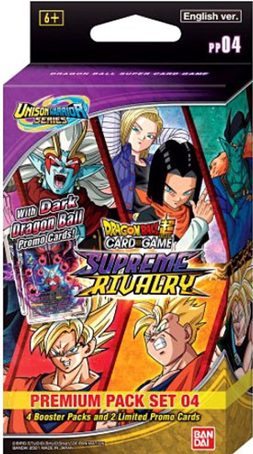 Dragon Ball Super Trading Card Game Unison Warrior Series 4 Supreme Rivalry Premium Pack Set PP04 [4 Booster Packs & 2 Promo Cards]