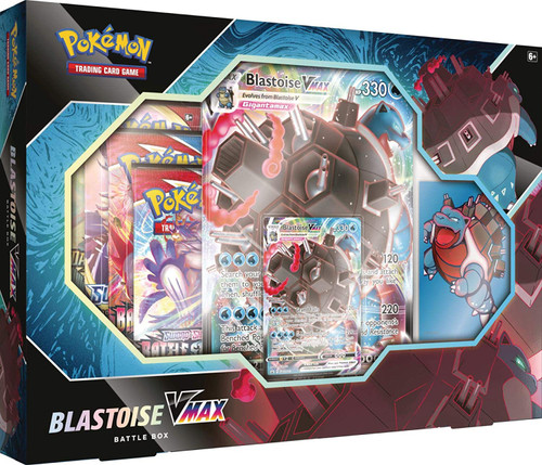 Pokemon Trading Card Game Blastoise VMAX Battle Box [4 Booster Packs, Promo Card, Oversize Card & 65 Card Sleeves] (Pre-Order ships April)