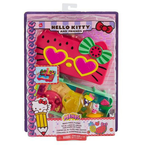 Sanrio Hello Kitty & Friends Watermelon Beach-Themed Pencil Box Playset