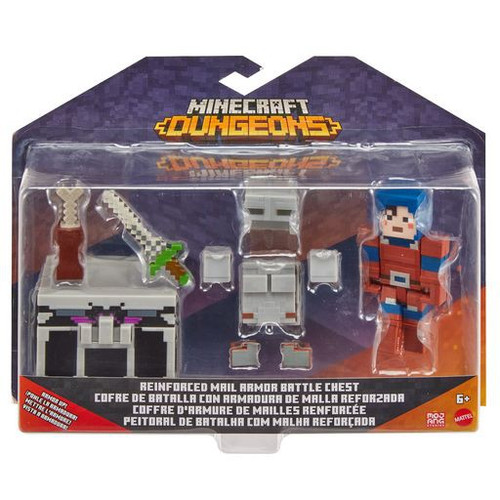Minecraft Dungeons Reinforced Mail Armor Battle Chest Action Figure 2-Pack