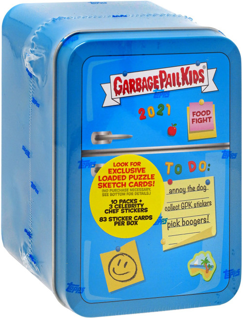 Garbage Pail Kids Topps Food Fight Blue Trading Card Collector Tin [10 Packs + 3 Exclusive Celebrity Chef Stickers!] (Pre-Order ships March)
