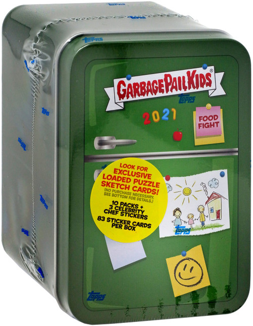 Garbage Pail Kids Topps 2021 Series 1 Food Fight GREEN Refrigerator Trading Card Tin [10 Packs + 3 Exclusive Celebrity Chef Stickers!]