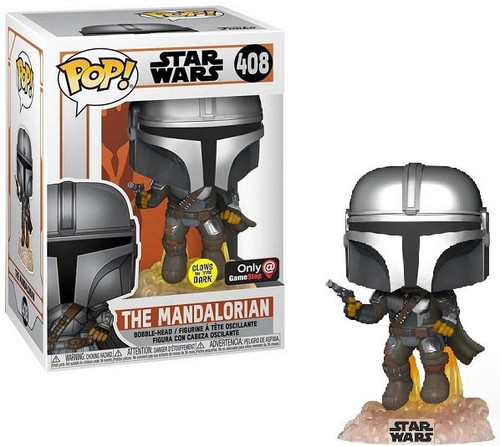 Funko POP! Star Wars The Mandalorian Exclusive Vinyl Figure #408 [Flying with Blaster Glow in the Dark] (Pre-Order ships February)