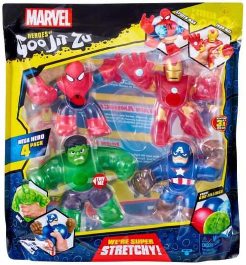 Heroes of Goo Jit Zu Marvel Spider-Man, Hulk, Captain America & Iron Man Action Figure 4-Pack