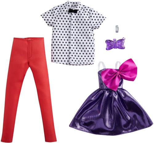 Barbie & Ken Fashions Shimmery Purple Party Dress & White Shirt Fashion 2-Pack