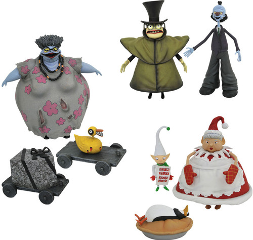 Nightmare Before Christmas Select Series 10 Mr. Hyde with Corpse Dad, Corpse Mom with Duck Gift, and Mrs. Claus with Choir Elf Set of 3 Action Figures (Pre-Order ships October)