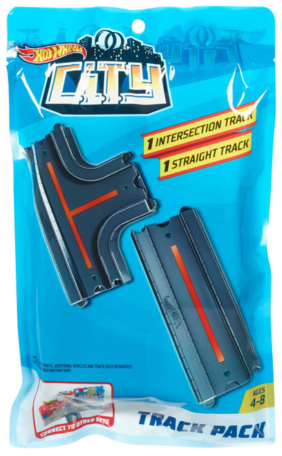 Hot Wheels City 1 Intersection Track & 1 Straight Track Track Pack