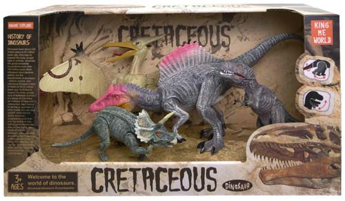 Cretaceous Dinosaur Tyrannosaurus Rex, Spinosaurus, Pteranodon & Triceratops Action Figure 4-Pack [Version 2]