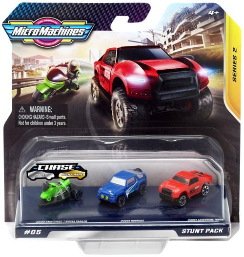 Micro Machines Series 2 Stunt Pack Vehicle 3-Pack #05 [Race Cycle/Trailer, Hognose & Adventure Truck]