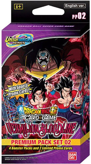 Dragon Ball Super Trading Card Game Unison Warrior Series 2 Vermilion Bloodline Premium Pack Set PP02 [4 Booster Packs & 2 Promo Cards]