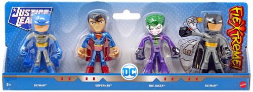 DC Justice League Flextreme Batman (Grey), Superman, The Joker & Batman Action Figure 4-Pack