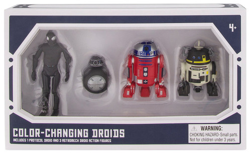 Disney Star Wars Galaxy's Edge Droid Factory Color-Changing Droids Exclusive Action Figure 4-Pack [1 Protocol & 3 Astromech]