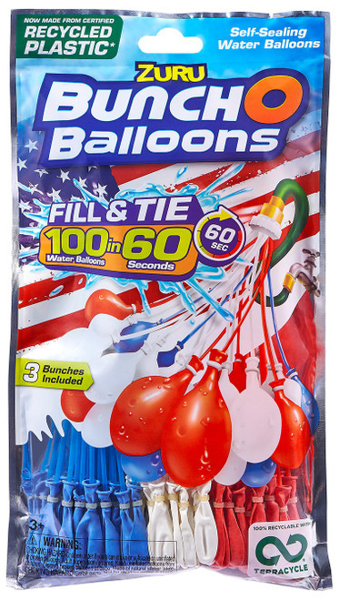 Bunch O Balloons Water Ballons Red, White & Blue 3-Pack