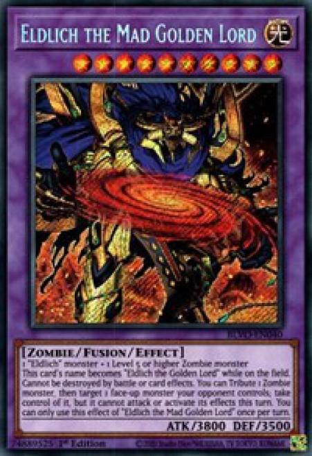 YuGiOh Blazing Vortex Secret Rare Eldlich the Mad Golden Lord BLVO-EN040