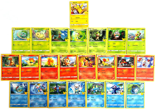 Pokemon Trading Card Game McDonald's Happy Meal 25th Anniversary Set of 25 NON-FOIL Cards