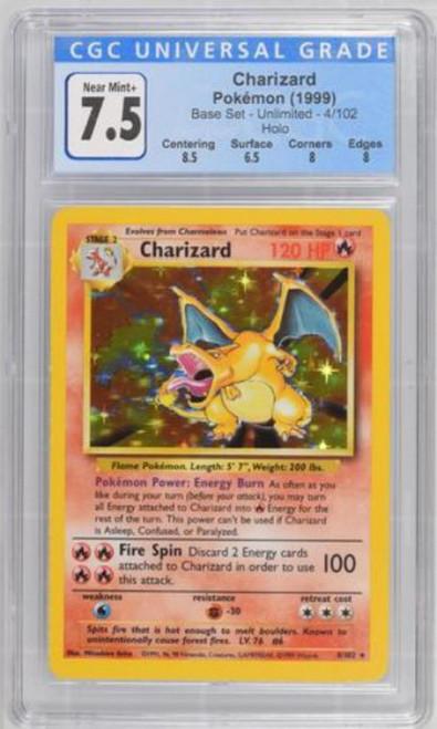 Pokemon Base Set Holo Rare Charizard [CGC - 7.5 Near Mint+]