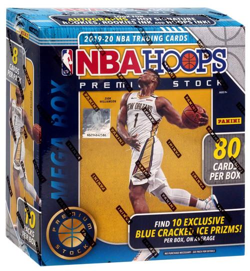 NBA Panini 2019-20 Hoops Premium Stock Basketball Trading Card MEGA Box [10 Packs, 10 BLUE Cracked Ice Prizms!]