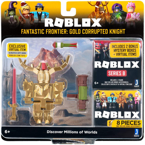 Roblox Fantastic Frontier: Gold Corrupted Knight Action Figure [2 Bonus Mystery Packs!]
