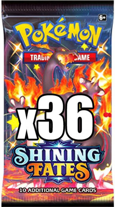 Pokemon Trading Card Game Shining Fates LOT of 36 Booster Packs [Equivalent of a Box]